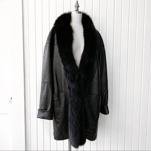 Vintage Leather Fox Fur Collar Trench Coat Jacket